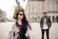 Good looking girl passing by the handsome guy Royalty Free Stock Image