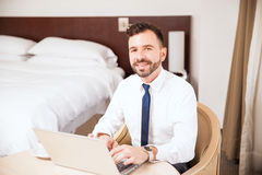 Good looking Hispanic man on a business trip royalty free stock photos