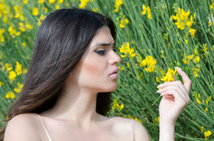 Good looking lady smelling yellow flower Stock Photos