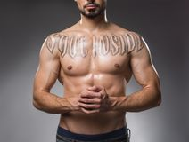 Good looking male chest without shirt royalty free stock image