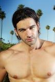 Good looking man. Closeup portrait of a young shirtless good looking man outdoors Royalty Free Stock Photos