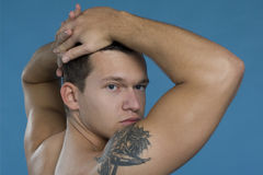 Good looking man. With the tattoo Stock Image