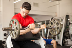 Good looking man working on his biceps Stock Photo