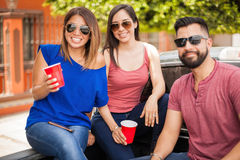 Good looking people hanging out in summer stock image