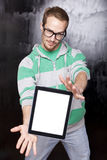 Good Looking Smart Nerd Man With Tablet Computer Royalty Free Stock Photo
