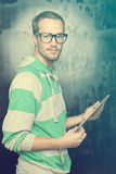Good Looking Smart Nerd Man With Tablet Computer Royalty Free Stock Images
