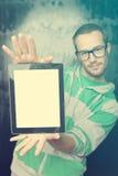 Good Looking Smart Nerd Man With Tablet Computer Stock Image