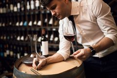 Good looking sommelier concentrated on his work at the restaurant stock photos