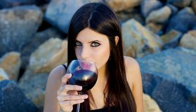 Good looking woman celebrating with red wine outdoors Royalty Free Stock Image