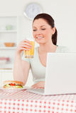 Good looking woman relaxing on her laptop Stock Image