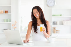 Good looking woman relaxing with her laptop Stock Photos
