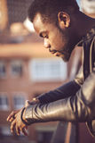 Good looking young black man in trendy clothes.  Stock Photos