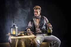 Good Looking Young Man in Pirate Fashion Outfit Royalty Free Stock Photography