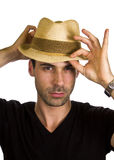 Good looking young man is wearing hat.  Stock Photography