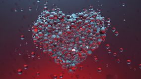 Love heart.Shining Glass balls create valentines heart and exploding heart particles. Good for love story intro and wedding video. Valentines day present and stock video footage