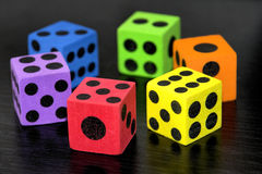 Good luck!. Six colorful dices ready for a game Stock Images