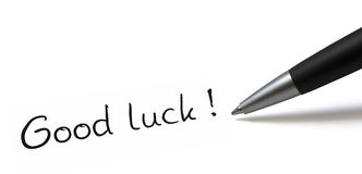 Good luck. Ballpen on white background. Showing Good luck royalty free stock images