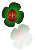 Good luck. Clover and ladybug Stock Illustration