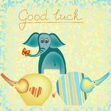 Good luck background with elephants Royalty Free Stock Image