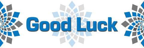 Good Luck Blue Grey Square Elements. Good luck text written over horizontal background with blue grey abstract elements vector illustration