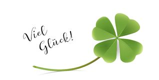 Good Luck Card with shamrock, New Year and Congratulation  Card. Vector illustration  on white background Stock Image
