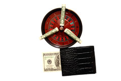 Good luck in casino. Roulette, prize and is lot of money, dollars, good luck, vegas stock image