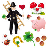Good Luck Collection with New Year symbol stickers Royalty Free Stock Image