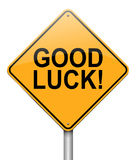 Good luck concept. Illustration depicting a roadsign with a good luck concept. White background Stock Image