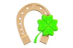 Good luck concept, horseshoe and four leaf clover. 3D rendering. Isolated on white background Stock Image