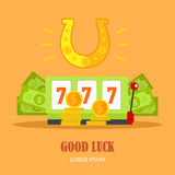 Good Luck Concept Vector Banner in Flat Design. Good luck concept vector banner in flat style. Horseshoe, slot machine with sevens, dollar bills and gold coins Stock Photos