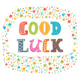 Good luck. Cute postcard. Inspirational and motivating phrase Stock Photo