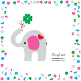Good luck with elephant and clover vector greeting Royalty Free Stock Images