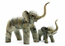 Good Luck Elephants No.2. Mother and baby elephant with trunks elevated Royalty Free Stock Image