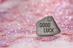 Good luck engrave on stone stock photo