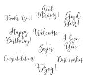 Good luck, enjoy, happy birthday. Set of modern calligraphy and hand drawn elements. Typographical concept. Usable for Royalty Free Stock Images