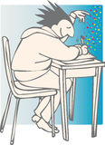 Good luck exams. Confident person writing with stars appearing Royalty Free Stock Photo