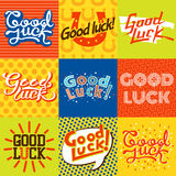 Good luck. Farewell card. Good luck text farewell card. Vector lettering with lucky phrase background greeting typography. Vintage word decorative symbol Royalty Free Stock Images