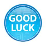 Good Luck floral blue round button stock illustration