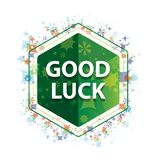 Good Luck floral plants pattern green hexagon button royalty free stock photography