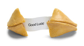 Good Luck Fortune Cookie. Fortune Cookie with Good Luck Message Isolated on White Background royalty free stock photo