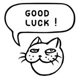 Good luck. Funny cat head. Speech cloud. Vector illustration. Royalty Free Stock Images