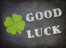 Good Luck. Graphic with Good Luck letters and a cloverleaf Stock Photo