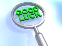 Good luck. Green good luck heading magnified stock images