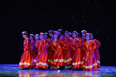 Good luck and happiness to you-Tibetan folk dance. June 10, 2015, the Jiangxi Vocational Academy of Art dance show performance Stock Photos