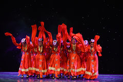 Good luck and happiness to you-Tibetan folk dance. June 10, 2015, the Jiangxi Vocational Academy of Art dance show performance Stock Images