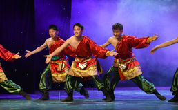 Good luck and happiness to you-TTibetan folk dance. June 10, 2015, the Jiangxi Vocational Academy of Art dance show performance Royalty Free Stock Image