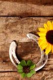 Good Luck horseshoe, shamrock and sunflower Stock Images
