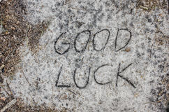 Good luck inscription  on sand Royalty Free Stock Images