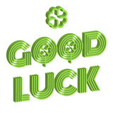 Good luck isometric text farewell vector lettering with lucky phrase background greeting typography. Vintage word decorative symbol inscription expression Royalty Free Stock Photo