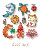 Good Luck. Lucky amulets and happy symbols set Stock Image
